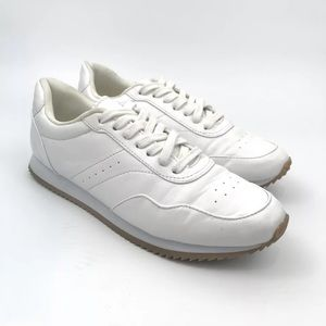 H&M Women's White Faux Leather Sneakers Retro Low